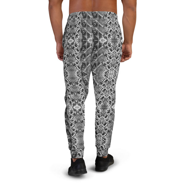 Black Snake Print Men's Joggers, Sexy Snake Animal Print Casual Sweatpants- Made in EU-Heidikimurart Limited -Heidi Kimura Art LLC Black Snake Print Men's Joggers, Sexy Snake Python Animal Print Sweatpants For Men, Modern Slim-Fit Designer Ultra Soft & Comfortable Men's Joggers, Men's Jogger Pants-Made in EU/MX (US Size: XS-3XL)