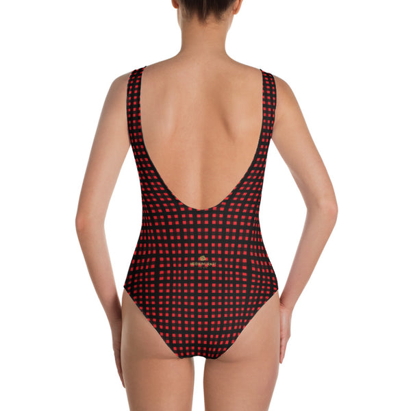 Red Buffalo Plaid Women's Swimwear, Classic One-Piece Plaid Print Women's One-Piece Swimwear Bathing Suits Sexy Luxury Beach Wear - Made in USA/EU (US Size: XS-3XL) Plus Size Available