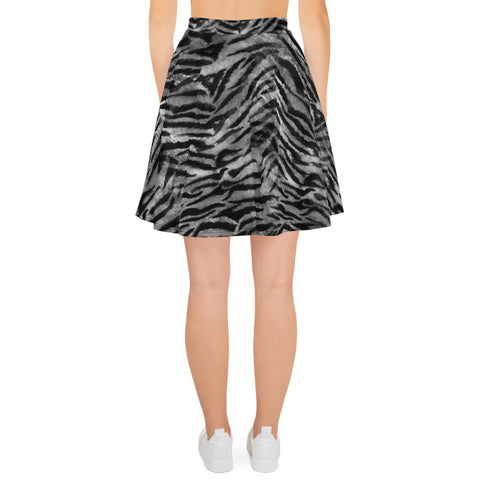 Gray Tiger Stripe Skater Skirt, Best Tiger Animal Print Alluring Print High-Waisted Mid-Thigh Women's Skater Skirt, Plus Size Available - Made in USA/EU (US Size: XS-3XL) Animal Print skirt, Tiger Print Skater Skirt, Tiger Skater Skirt