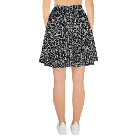 Gray Leopard Print Women's Skater Skirt, Best Gray Leopard Animal Print Alluring Print High-Waisted Mid-Thigh Women's Skater Skirt, Plus Size Available - Made in USA/EU (US Size: XS-3XL) Animal Print skirt, Leopard Print Skater Skirt, Leopard Skater Skirt