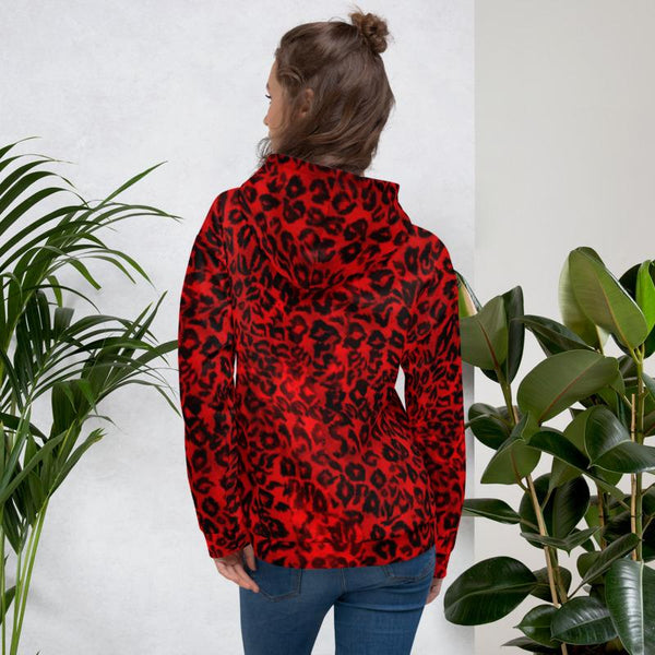 Red Leopard Animal Print Premium Men's or Women's Unisex Hoodie-Made in Europe-Men's Hoodie-Heidi Kimura Art LLC