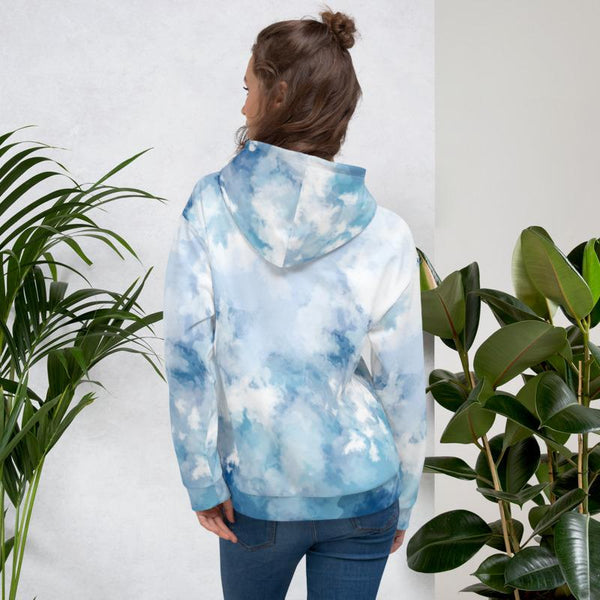 Blue Abstract Unisex Hoodie, Blue Abstract White Print Men's or Women's Unisex Hoodie- Made in Europe (US Size: XS-3XL), Women's or Men's Modern Designer Abstract Printed Hoodie Pullover Sweatshirt, Plus Size Available Blue Abstract White Print Men's or Women's Unisex Premium Hoodie - Made in Europe-Women's Hoodie-Heidi Kimura Art LLC
