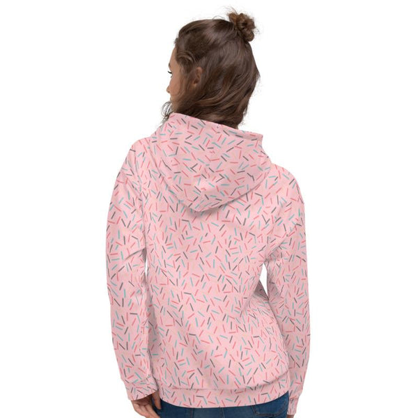 Light Pink Birthday Sprinkle Print Ladies Unisex Hoodie Sweatshirt Pullover- Made in EU-Women's Hoodie-Heidi Kimura Art LLC