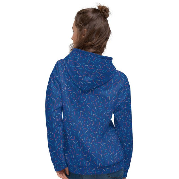 Navy Blue Birthday Sprinkle Print Ladies Unisex Hoodie Sweatshirt Pullover - Made in EU-Women's Hoodie-Heidi Kimura Art LLC