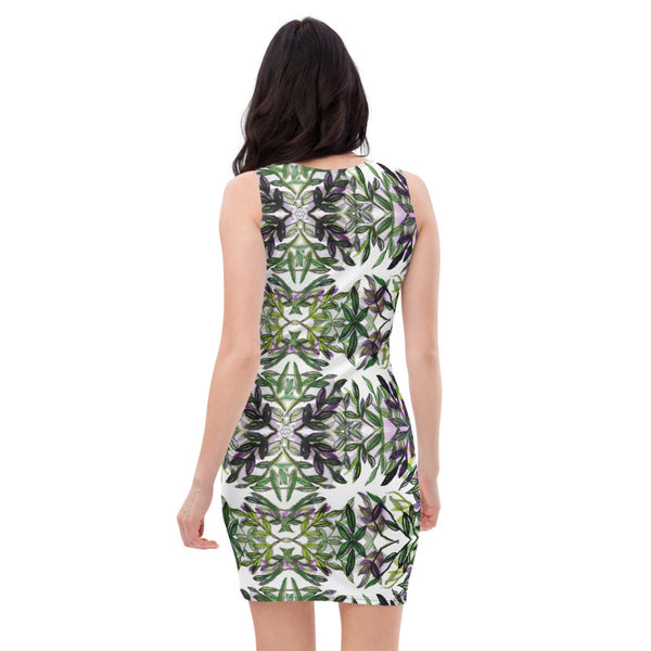Green Tropical Leaf Print Dress, Women's Designer Hawaiian Style Dress-Heidi Kimura Art LLC-Heidi Kimura Art LLC Green Tropical Leaf Print Women's Dress, Floral Print Hawaiian Style Women's Long Sleeveless Designer Premium Dress - Made in USA/EU (US Size: XS-XL)