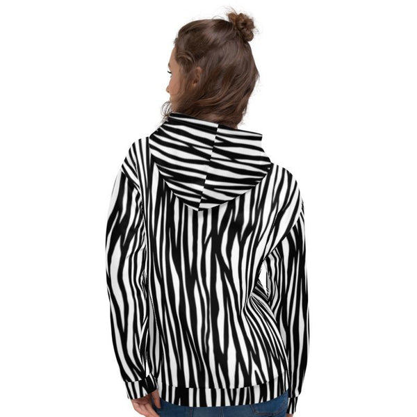 White Black Zebra Animal Print Men's or Women's Unisex Hoodie- Made in Europe-Men's Hoodie-Heidi Kimura Art LLC