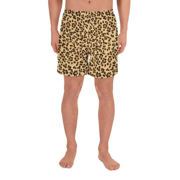 Brown Leopard Animal Print Men's Athletic Best Workout Long Shorts- Made in EU-Men's Long Shorts-Heidi Kimura Art LLC