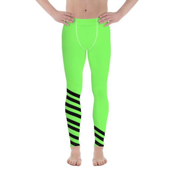 Bright Neon Green Black Diagonal Stripe Print Men's Leggings Meggings-Made in USA/EU-Men's Leggings-Heidi Kimura Art LLC
