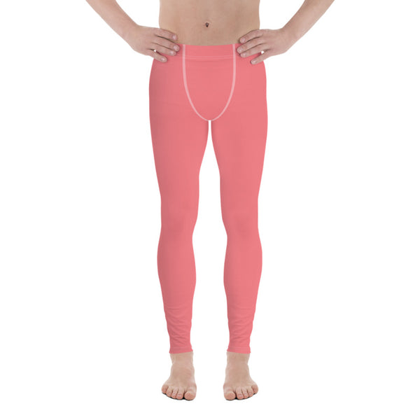 Peach Pink Solid Color Premium Soft Men's Leggings- Made in USA/EU (US Size: XS-3XL)-Men's Leggings-Heidi Kimura Art LLC
