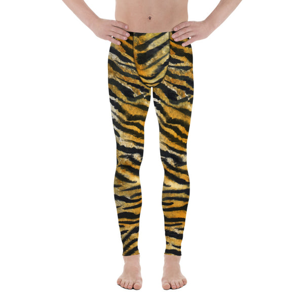 Orange Tiger Meggings, Orange Tiger Stripe Animal Print Men's Running Leggings & Run Compression Men's Tights, Meggings 38-40 UPF High Performance Comfy Breathable Soft Men's Tights- Made in USA/ Europe (US Size: XS-3XL) Tiger Leggings, Tiger Stripe Pants, Tiger Stripe Mens Running Fitness Tight Leggings, Meggings, Tiger Stripe Leggings, Tiger Workout Leggings, Tiger Stripe Print Leggings
