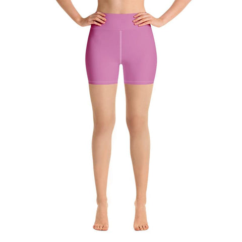 Bubble Pink Solid Color Fitness Yoga Gym Fitness Shorts w/ Pockets- Made in USA-Yoga Shorts-Heidi Kimura Art LLC