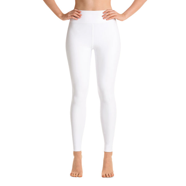 White Solid Color Premium Bestselling Women's Yoga Leggings Pants- Made in USA-Leggings-Heidi Kimura Art  White Women's Yoga Pants, White Solid Color Yoga Gym Tights, Long Yoga Pants Leggings Pants, Plus Size, Soft Tights - Made in USA/EU, Women's White Solid Color Active Wear Fitted Leggings Sports Long Yoga & Barre Pants (XS-XL)