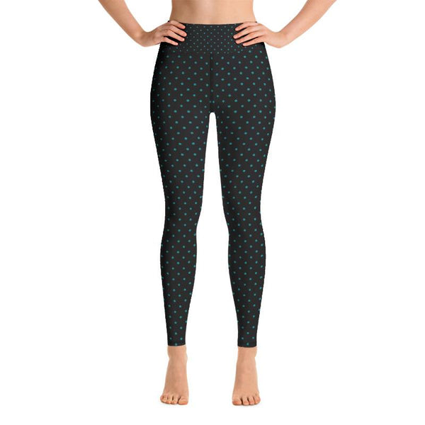 Blue Dots Print Women's Leggings, Blue Polka Dots Black Yoga Pants- Made in USA/EU-Leggings-Heidi Kimura Art LLC