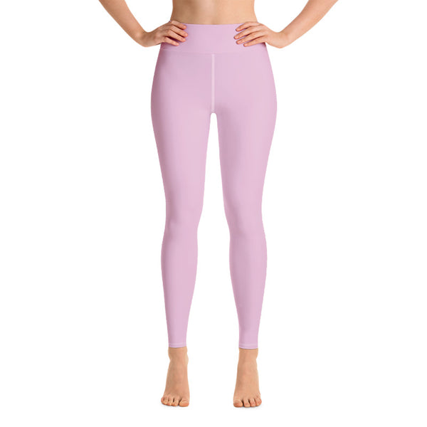 Light Bubble Pink Solid Color Print Women's Long Yoga Leggings Pants- Made in USA/ EU-Leggings-Heidi Kimura Art LLC Light Pink Women's Leggings, Women's Light Bubble Pink Solid Color Yoga Gym Workout Tights, Long Yoga Pants Leggings Pants, Plus Size, Soft Tights - Made in USA/ EU, Women's Light Pink Solid Color Active Wear Fitted Leggings Sports Long Yoga & Barre Pants (US Size: XS-XL)