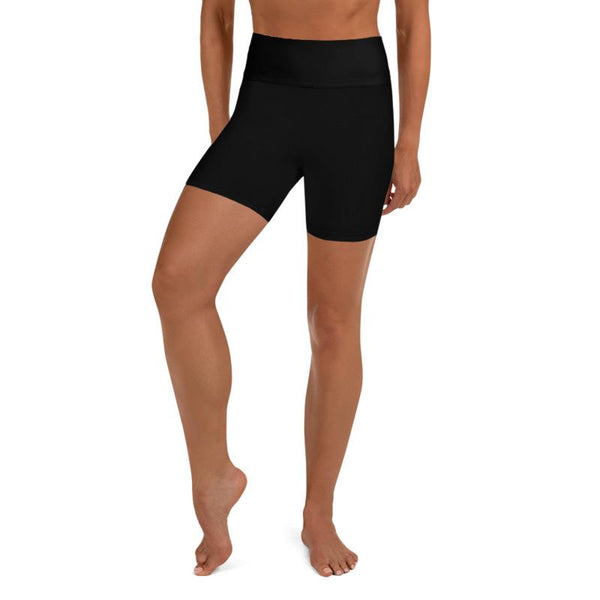 Black Solid Color Women's Workout Fitness Yoga Shorts With Pockets- Made in USA-Yoga Shorts-Heidi Kimura Art LLC