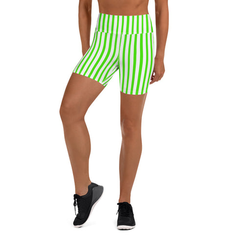 Green White Striped Vertical Print Women's Yoga Workout Shorts- Made in USA/ EU-Yoga Shorts-Heidi Kimura Art LLC