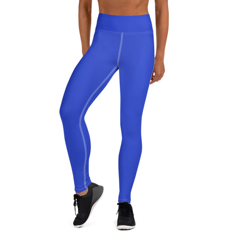 Solid Blue Color Premium Women's Long Yoga Leggings Pants Tights- Made in USA/ EU-Leggings-Heidi Kimura Art LLC Blue Women's Yoga Pants, Women's Solid Blue Bright Solid Color Yoga Gym Workout Tights, Long Yoga Pants Leggings Pants, Plus Size, Soft Tights - Made in USA/ EU, Women's Sharp Blue Solid Color Active Wear Fitted Leggings Sports Long Yoga & Barre Pants (US Size: XS-XL)