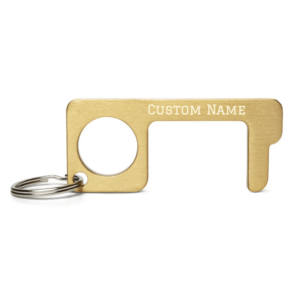 Custom Name Engraved Brass No Touch Tool-Engraved Brass Metal Handy Convenient Gold Accent 2.87″ × 1.25″ × 0.11″Personalized Key-chain-Made in USA/EU, Clean Key Anti- Touch Contactless Designer Customized Engraved Name/ Text Door Opener