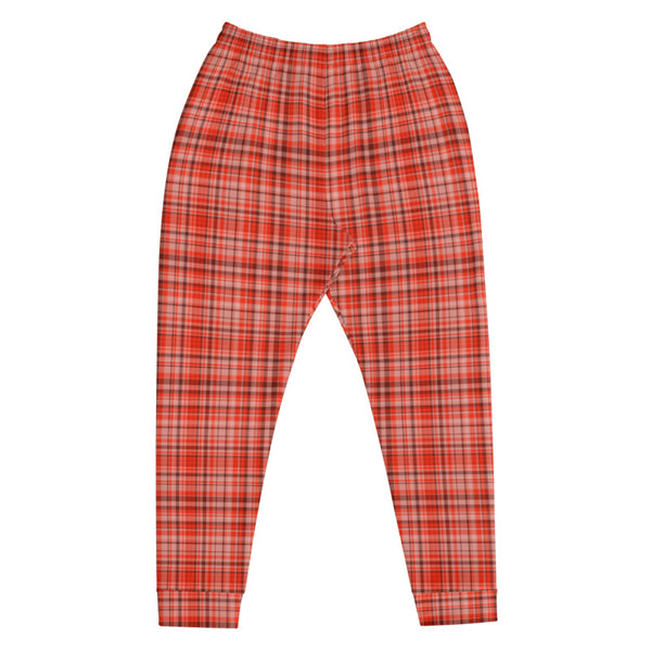 Orange Red Tartan Plaid Print Designer Men's Joggers Jogging Bottoms Pants - Made in EU-Men's Joggers-Heidi Kimura Art LLC