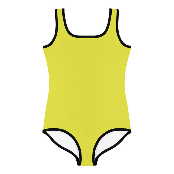 Yellow Solid Color Print Cute Happy Kids Swimsuit Swimwear-Made in USA/ EU (US Size: 2T-7)-Kid's Swimsuit (Girls)-Heidi Kimura Art LLC