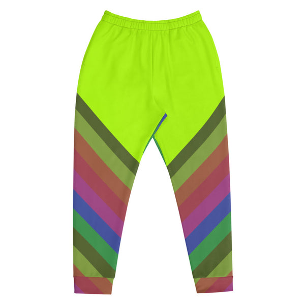 Neon Green Faded Rainbow Stripe Print Men's Rave Party Fashion Joggers - Made in EU-Men's Joggers-Heidi Kimura Art LLC
