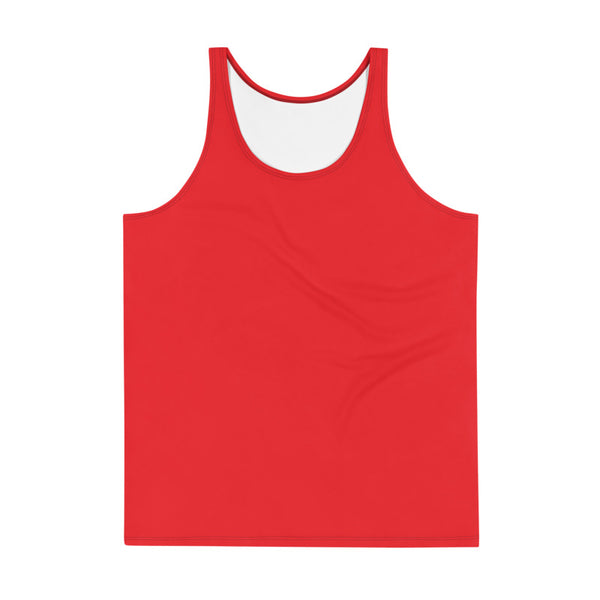 Hot Red Solid Color Print Men's or Women's Premium Unisex Tank Top- Made in USA-Men's Tank Top-Heidi Kimura Art LLC
