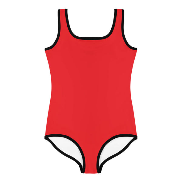 Red Solid Color Print Premium Cute Kids Swimsuit- Made in USA (US Size: 2T-7)-Kid's Swimsuit (Girls)-Heidi Kimura Art LLC