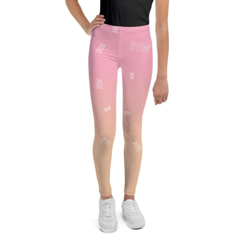 Pink Orange Beige Ombre Print Cute Youth Leggings Tights Gym Pants- Made in USA/EU-Youth's Leggings-Heidi Kimura Art LLC