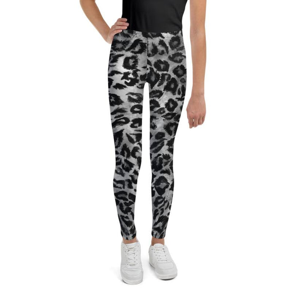 Gray Leopard Animal Print Premium Youth Leggings Tights Active Wear- Made in USA/EU-Youth's Leggings-Heidi Kimura Art LLC