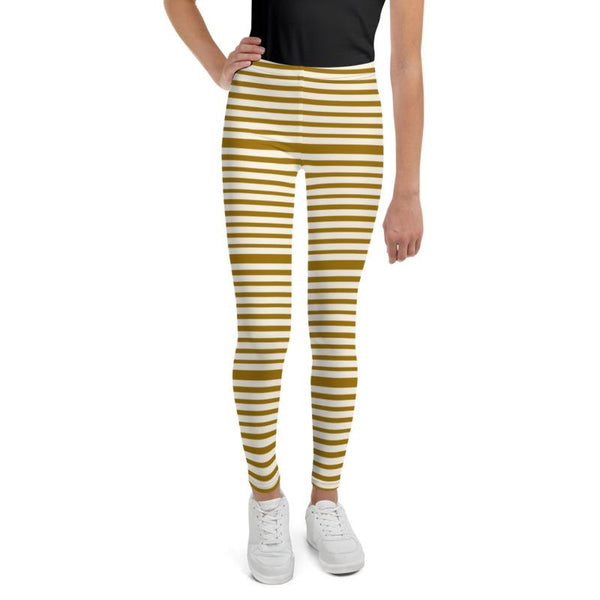 Brown Light Yellow Horizontal Stripe Print Premium Youth Leggings- Made in USA/EU-Youth's Leggings-Heidi Kimura Art LLC
