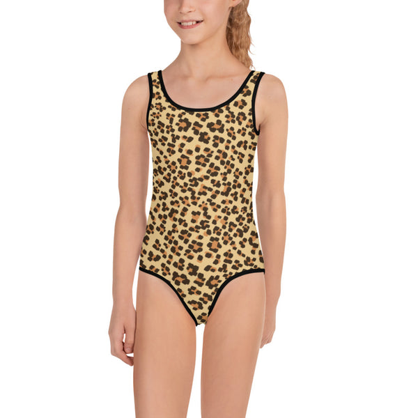 Brown Leopard Print Girl's Swimsuit, Animal Print Best Kids Bathing Suits- Made in USA/EU-Kid's Swimsuit (Girls)-Heidi Kimura Art LLC