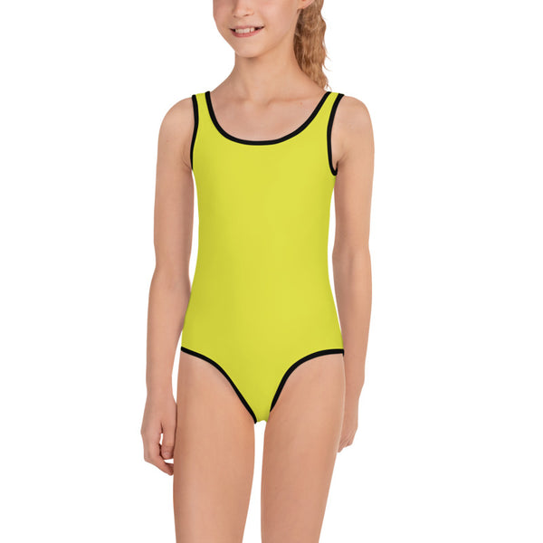 Yellow Solid Color Print Cute Happy Kids Swimsuit Swimwear-Made in USA/ EU (US Size: 2T-7)-Kid's Swimsuit (Girls)-Heidi Kimura Art LLC Yellow Girl's Swimsuit,Yellow Solid Color Print Girl's Kids Luxury Premium Modern Fashion Swimsuit Swimwear Bathing Suit Children Sportswear- Made in USA/EU (US Size: 2T-7)