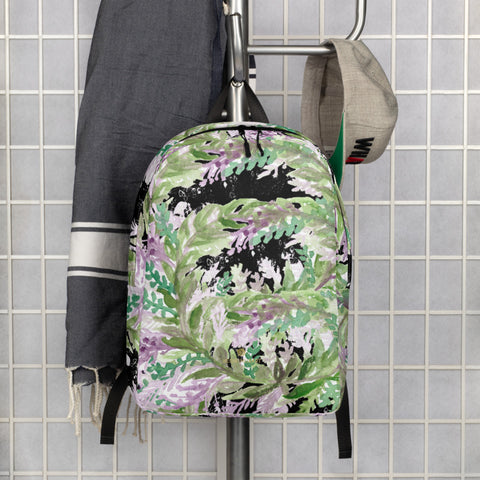 "Black Lavender Floral Backpack, Floral Print Pattern White Modern Unisex Designer Minimalist Water-Resistant Ergonomic Padded Backpack With Large Inside Pocket to Fit Most 15"" Laptops - Made in EU, Minimalist Backpack"