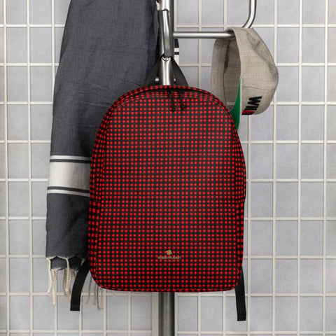 Red Buffalo Plaid Print Designer Minimalist School Laptop Travel Backpack- Made in EU-Minimalist Backpack-Heidi Kimura Art LLC