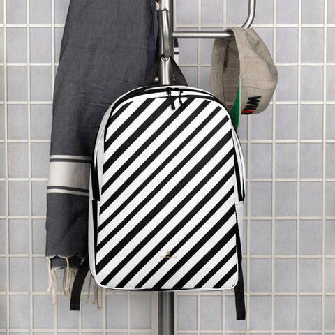 Black White Diagonal Stripe Print Modern Minimalist Backpack Laptop Bag- Made in EU-Minimalist Backpack-Heidi Kimura Art LLC