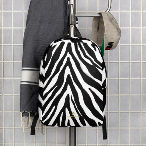 Modern Black White Zebra Animal Print Laptop Computer Tablet Minimalist Backpack- Made in EU-Minimalist Backpack-Heidi Kimura Art LLC