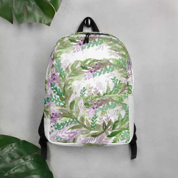 "White Lavender Backpack, Floral Print Pattern White Modern Unisex Designer Minimalist Water-Resistant Ergonomic Padded Backpack With Large Inside Pocket to Fit Most 15"" Laptops - Made in EU, Minimalist Backpack"