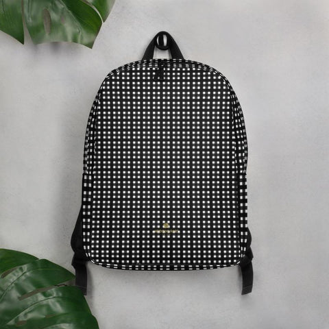 Black White Buffalo Plaid Print Modern Minimalist Backpack For School/Work-Made in EU-Minimalist Backpack-Heidi Kimura Art LLC