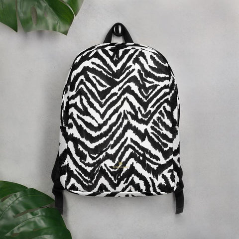 Chic Black White Zebra Animal Print Laptop Travel Commuter Minimalist Backpack- Made in EU-Minimalist Backpack-Heidi Kimura Art LLC