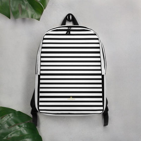 "Black White Horizontal Stripe Print Modern Minimalist Backpack Laptop Bag- Made in EU-Minimalist Backpack-Heidi Kimura Art LLC Black Striped Backpack, Black White Horizontal Stripe Print Modern Unisex Designer Minimalist Water-Resistant Ergonomic Padded Backpack With Large Inside Pocket to Fit Most 15"" Laptops - Made in EU, Minimalist Backpack"