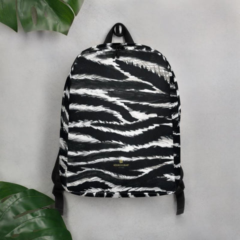 Designer Black White Zebra Animal Print Laptop Commuter's Minimalist Backpack- Made in EU-Minimalist Backpack-Heidi Kimura Art LLC