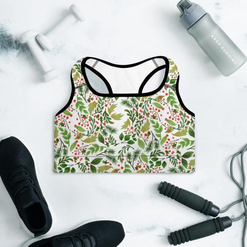 Christmas Winter Floral Print Women's Padded Sports Workout Bra- Made in USA/ EU-Sports Bras-Heidi Kimura Art LLC Christmas Floral Sports Bra, Christmas Winter Floral Print Women's Padded Sports Bra-Made in USA/ EU (US Size: XS-2XL) Holiday Winter Leggings, Holiday Christmas Women's Pants