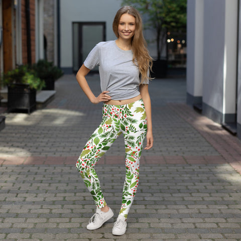 Christmas Floral Print Green Red Women's Long Yoga Pants Leggings- Made in USA/EU-legging-Heidi Kimura Art LLC