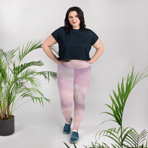 Purple Pink Sky Clouds Abstract Print Women's Plus Size Yoga Leggings- Made in USA/ EU-Women's Plus Size Leggings-Heidi Kimura Art LLC