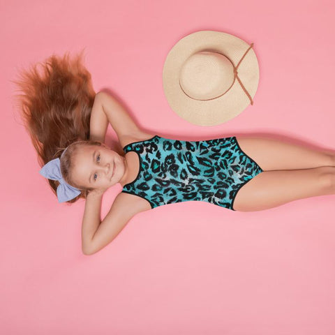 Blue Leopard Print Girl's Swimsuit, Animal Print Kids Swimwear Sportswear- Made in USA/EU-Kid's Swimsuit (Girls)-Heidi Kimura Art LLC