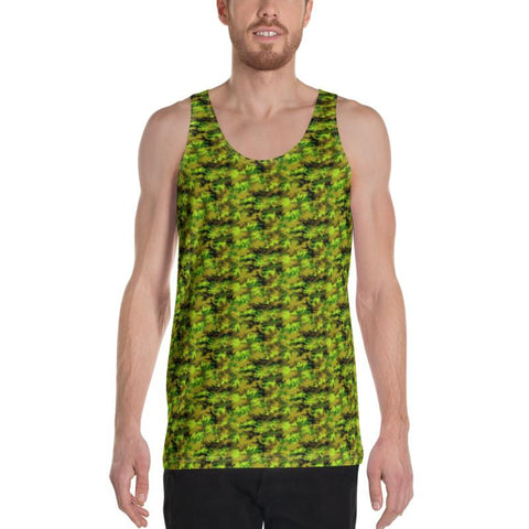 Green Camouflage Army Military Print Men's or Women's Unisex Tank Top- Made in USA-Men's Tank Top-Heidi Kimura Art LLC