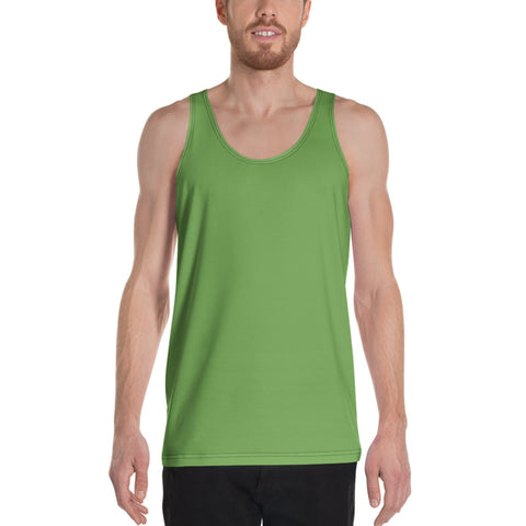 Green Apple Solid Color Print Premium Unisex Gay Friendly Tank Top- Made in USA-Men's Tank Top-Heidi Kimura Art LLC