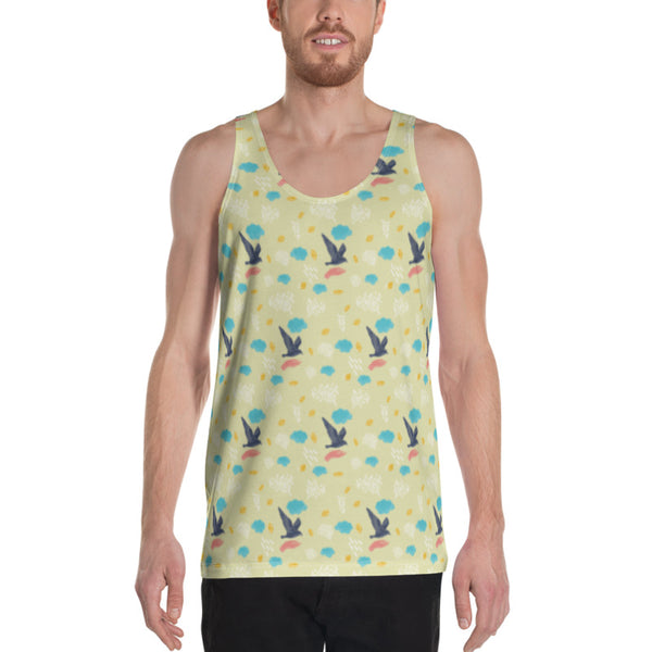 Colorful Flying Yellow Bird Print Unisex Men's or Women's Best Tank Top- Made in USA-Men's Tank Top-Heidi Kimura Art LLC