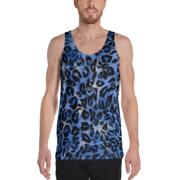 Blue Leopard Animal Print Mens Womens Premium Unisex Tank Top- Made in USA-Men's Tank Top-Heidi Kimura Art LLC