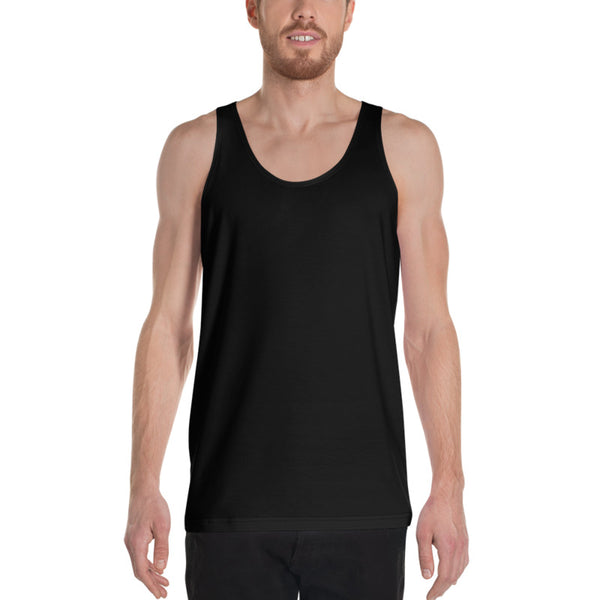 Solid Black Color Premium Unisex Men's/ Women's Designer Tank Top- Made in USA-Men's Tank Top-Heidi Kimura Art LLC